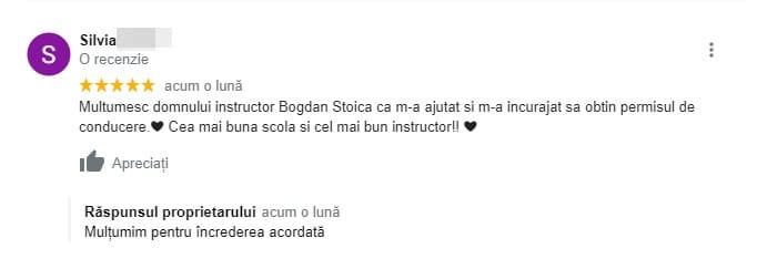 Recenzie pentru scoala de soferi Driver For Life !!! Silvia