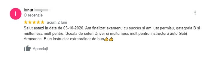 Recenzie pentru scoala de soferi Driver For Life !!! Ionut