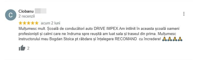 Ciobanu recenzie pentru scoala de soferi Driver For Life !!!