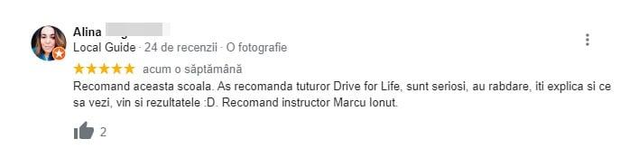 Alina recenzie pentru scoala de soferi Driver For Life !!!
